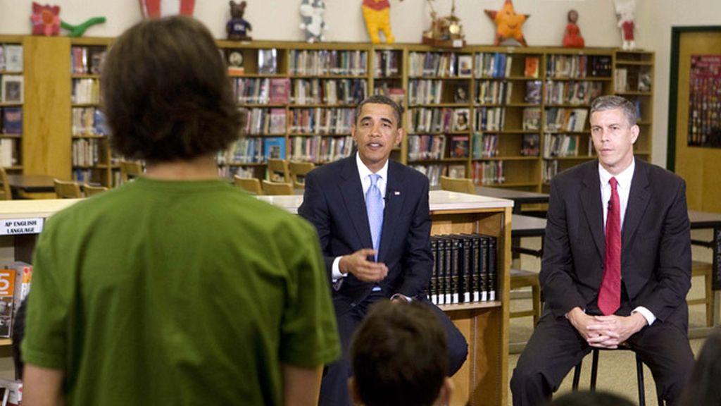 Barack Obama en la escuela de educación secundaria Wakefield, en Arlington