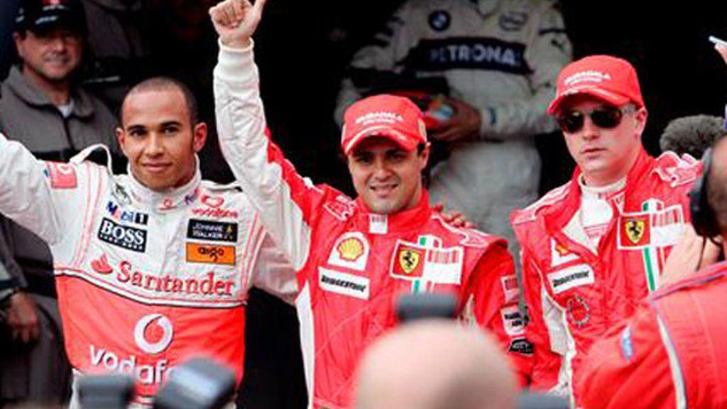 Massa, Raikkonen y Hamilton celebran sus primeros puestos