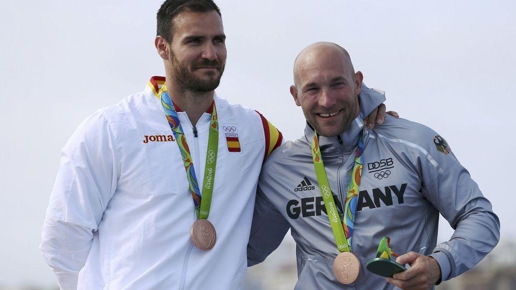 Saúl Craviotto comparte su bronce con el palista alemán Ronald Rauhe (20/08/2016)