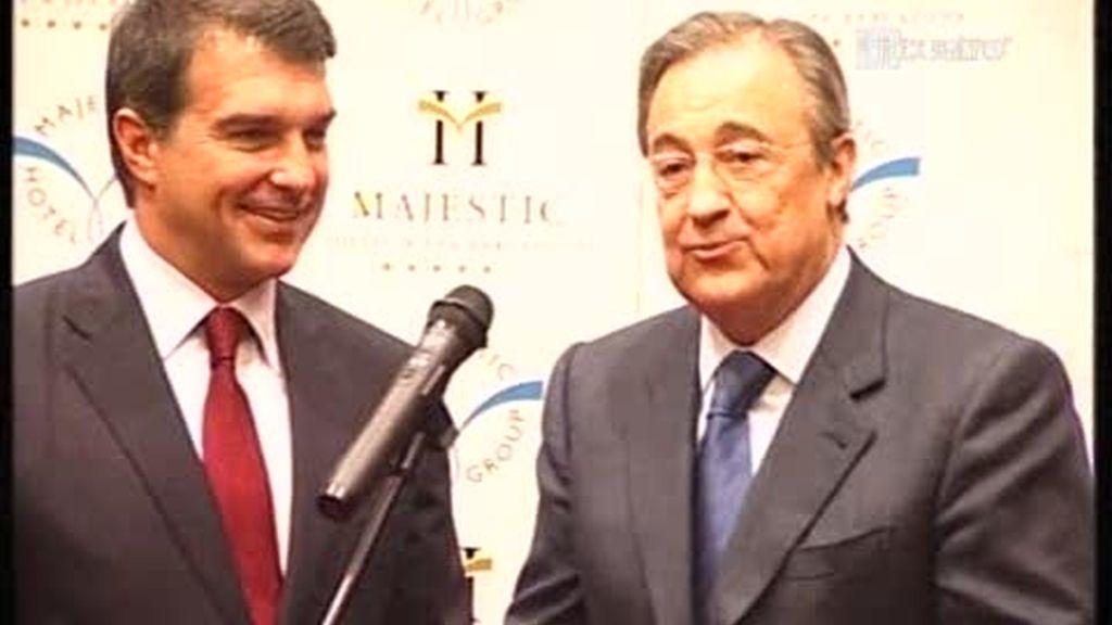 Joan Laporta y Florentino Pérez atienden juntos a la prensa