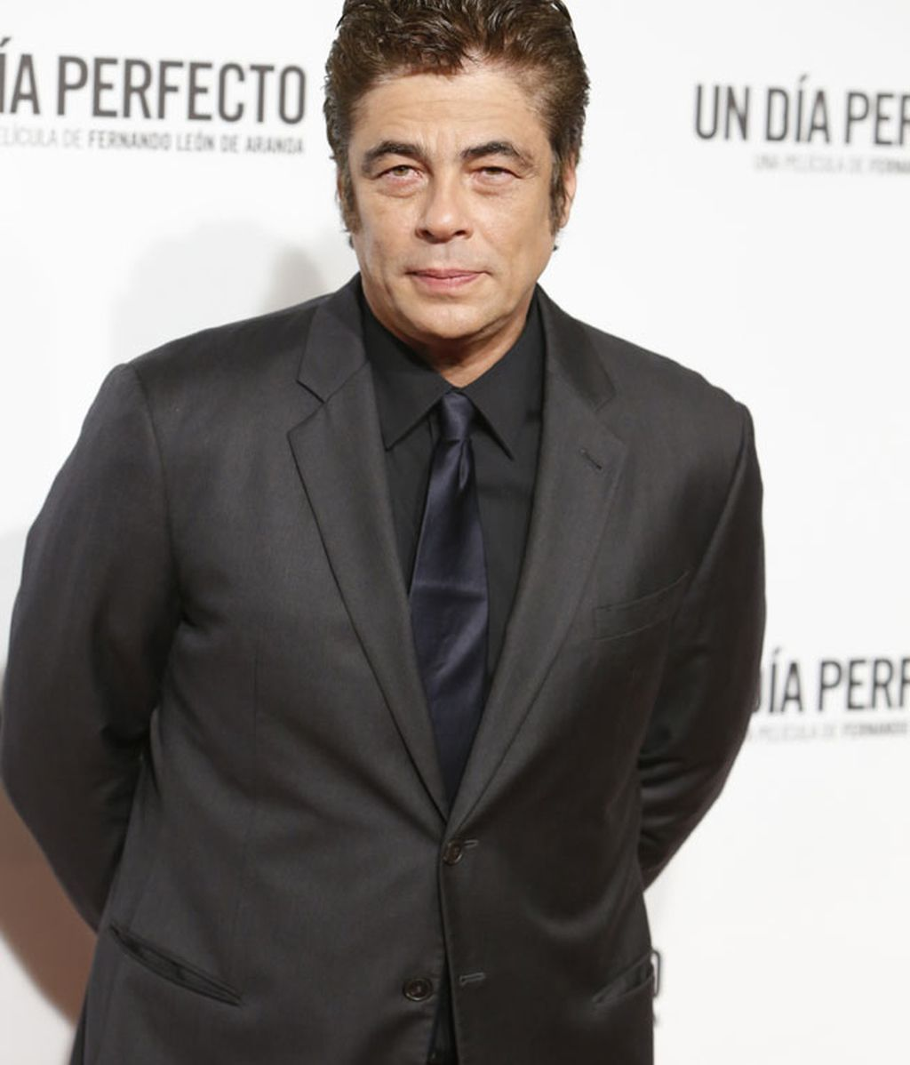 Benicio del Toro optó por una corbata azul marino
