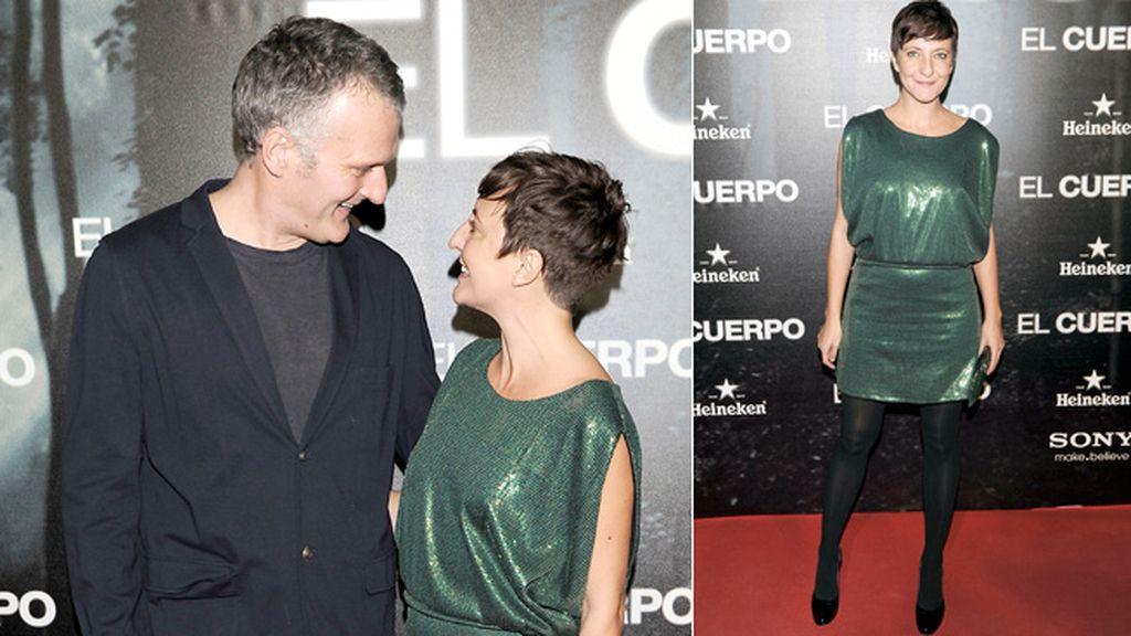 Eva Hache, que presentará los Goya en 2013, acudió al estreno con su marido