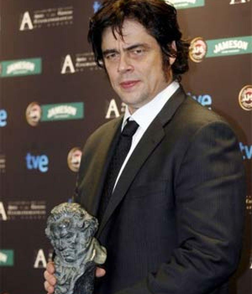 El actor Benicio del Toro, por su trabajo en la película 'Che, el argentino', ha recibido el reconocimiento de la Academia de Cine. Foto: EFE.