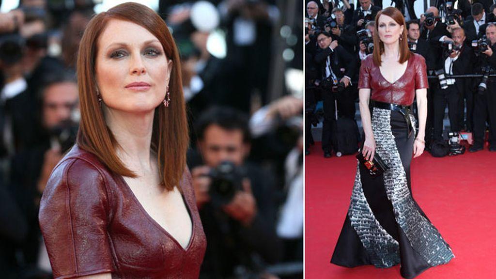 Julianne Moore combinó cuero y falda patchwork de Louis Vuitton