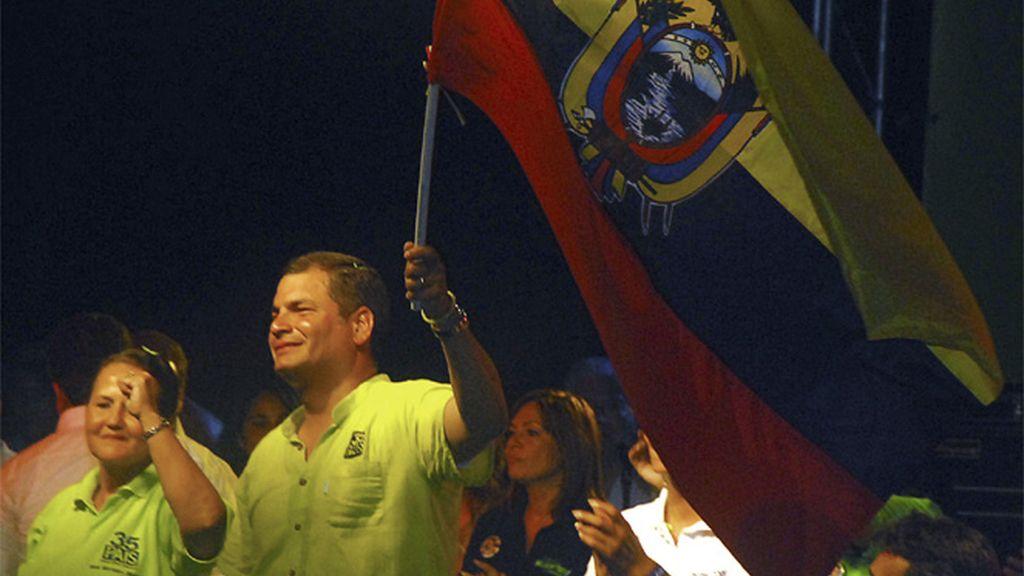 Correa durante su campaña electoral