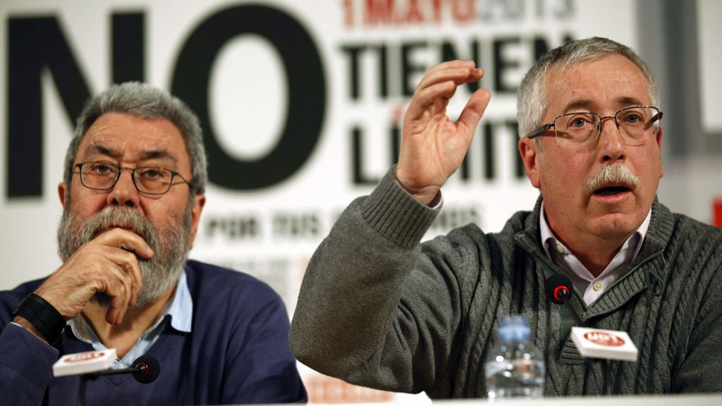 Los secretarios generales de CCOO, Ignacio Férnandez Toxo, y de UGT, Cándido Méndez