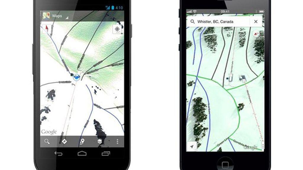 Google Maps muestra las estaciones de esquí de EEUU y Canadá