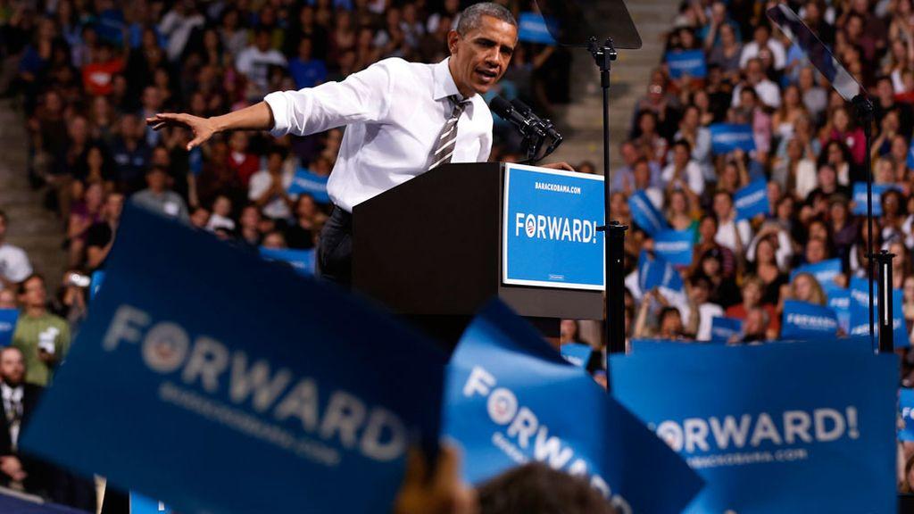 Obama durante su mitin en la Universidad de Colorado
