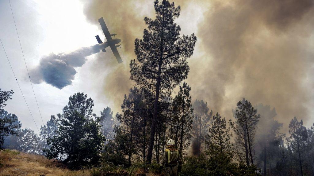 Labores de extinción de incendios en Galicia