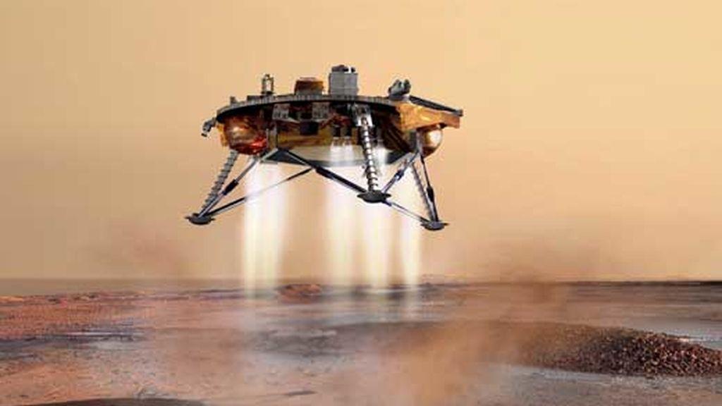 Imagen de cortesía del 30 de julio de 2007, suministrada por la NASA que muestra el concepto del artista Mars Lander sobre  Phoenix aterrizando sobre la superficie de Marte. Foto: EFE