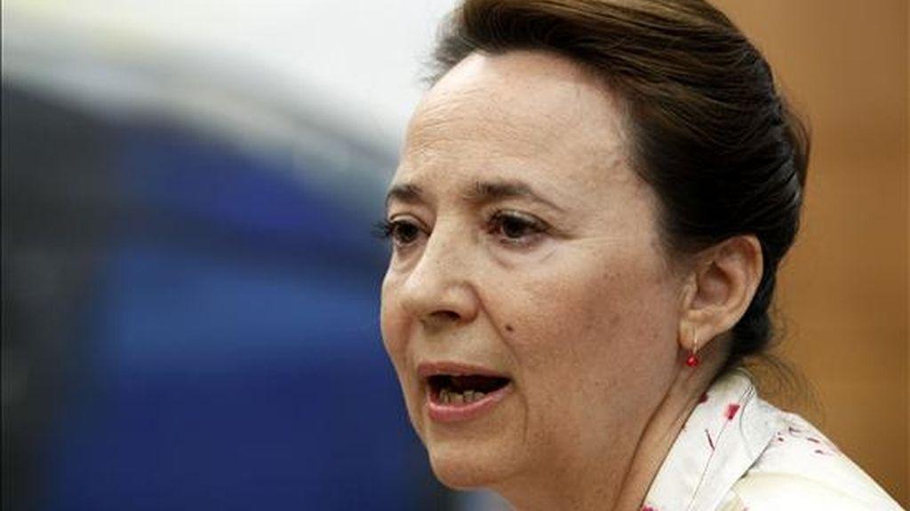 La secretaria de Estado de Transportes, Concepción Gutiérrez, en un momento de la rueda de prensa celebrada esta tarde en Madrid. EFE
