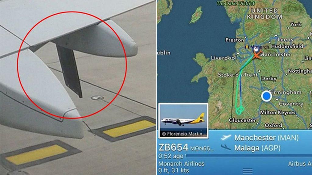 """Un avión que volaba a Málaga vuelve a Manchester al llevar un trozo de ala """"colgando"""""""