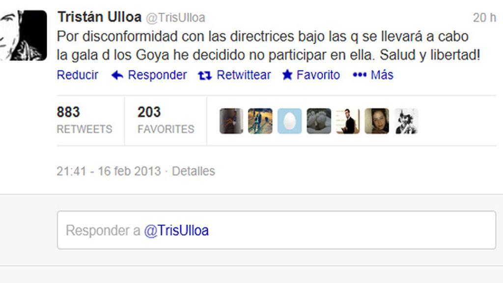 """Tristán Ulloa no acudirá a los Premios Goya por """"disconformidad con las directrices"""" para la gala"""