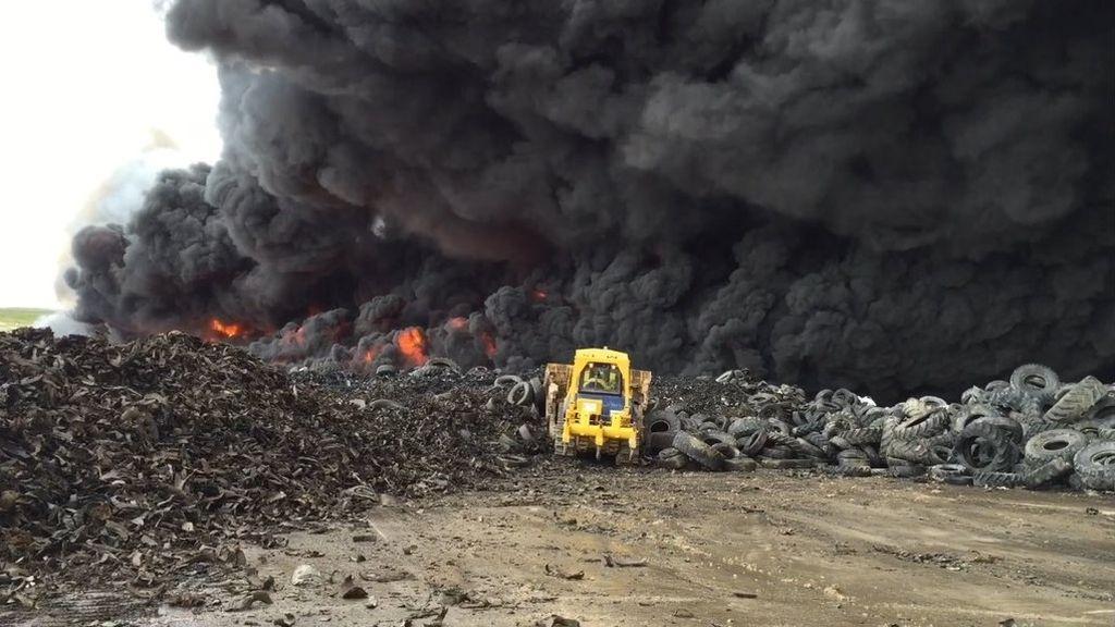 Cortafuegos en el incendio de Seseña