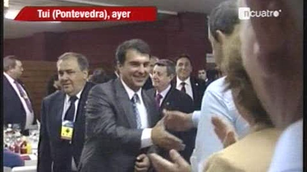 Joan Laporta lleva la Copa de Europa a Pontevedra