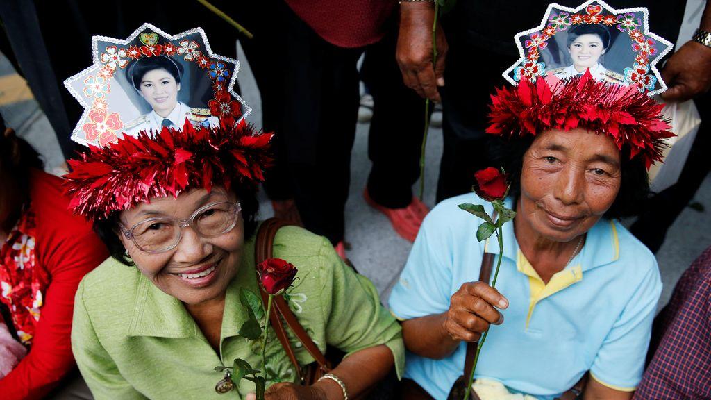 Simpatizantes de la exprimera ministra de Tailandia