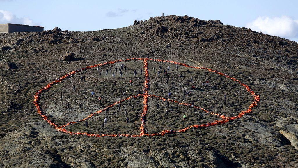 Símbolo de la paz en Lesbos