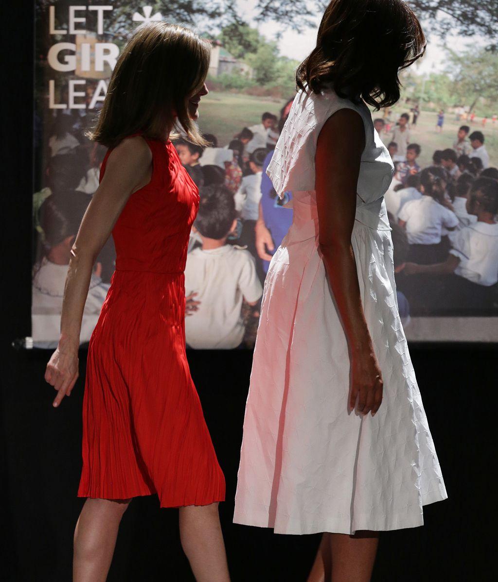 El encuentro en imágenes entre Michelle Obama y la reina Letizia