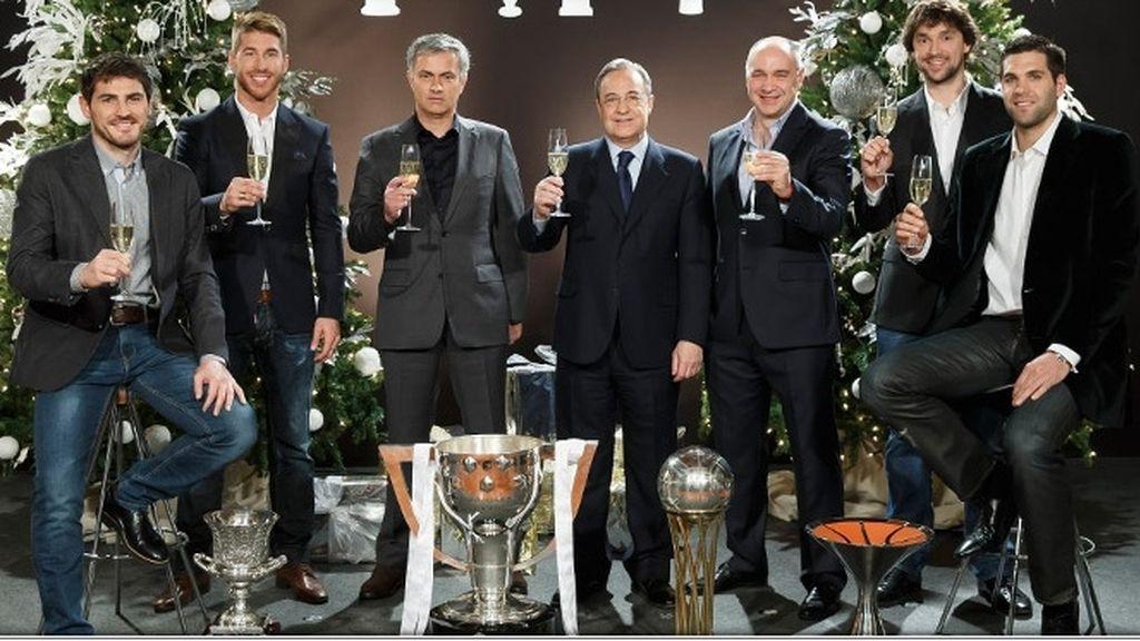 Florentio Pérez felicita el Año Nuevo junto a los capitanes y Mourinho