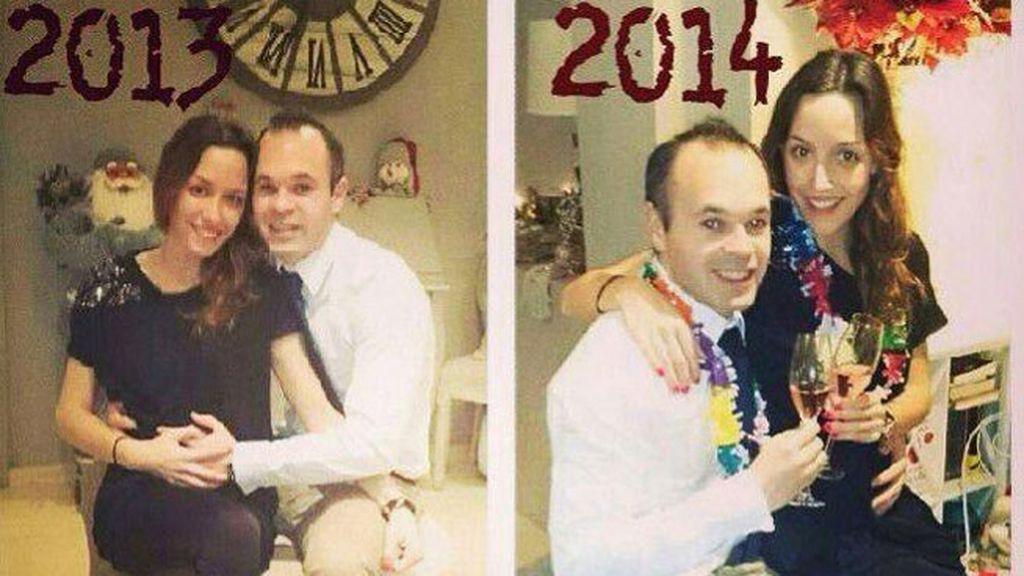 Andrés Iniesta también en pareja, con un brindis y esperando un hijo para 2014