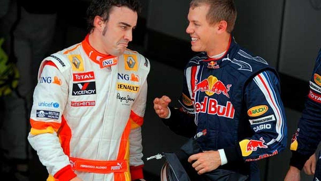 Celebración de Alonso y Vettel