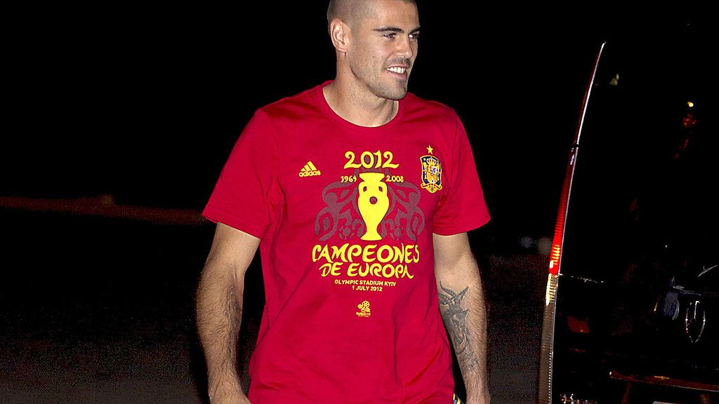 Victor Valdés durante la fiesta de la Selección española
