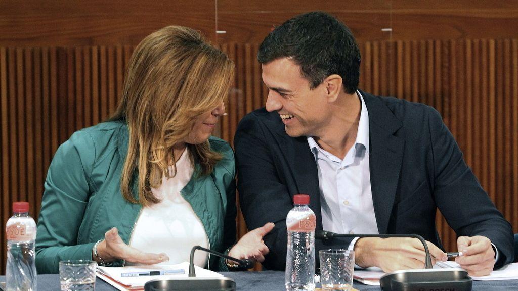 Susana Díaz con Pedro Sánchez, en el Consejo Político Federal del partido que se ha celebrado en Zaragoza. Foto: EFE