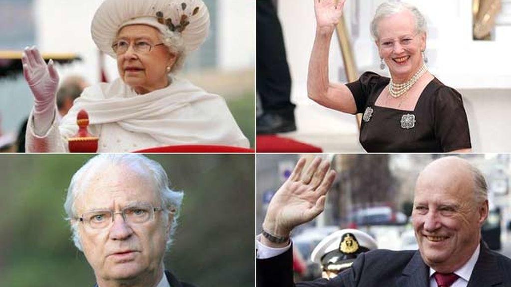 Isabel II de Inglaterra, Margarita II de Dinamarca, Carlos Gustavo XVI de Suecia y Harald V de Noruega, los últimos monarcas de la 'vieja guardia'