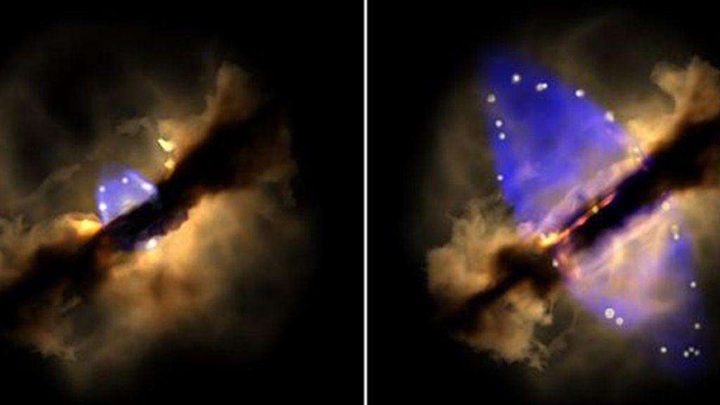 Observan por primera vez la gestación de un chorro estelar