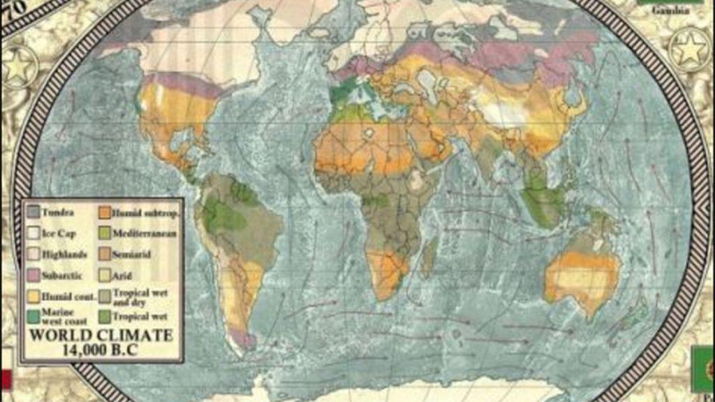 Mapa de la era glacial