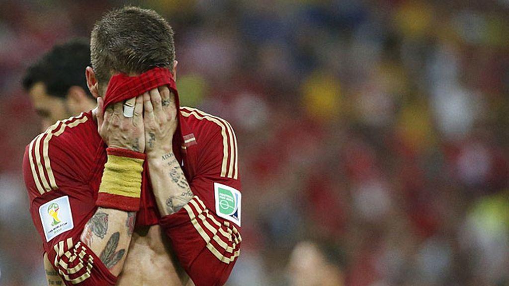 Sergio Ramos lamentándose