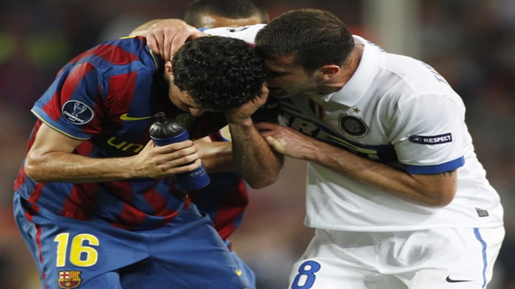 Thiago Motta y Sergio Busquets