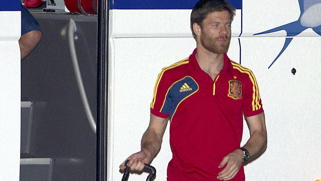 Xabi Alonso durante la fiesta de la Selección Española