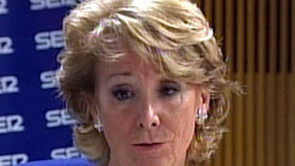 La presidenta de la Comunidad de Madrid en una entrevista a la Cadena Ser