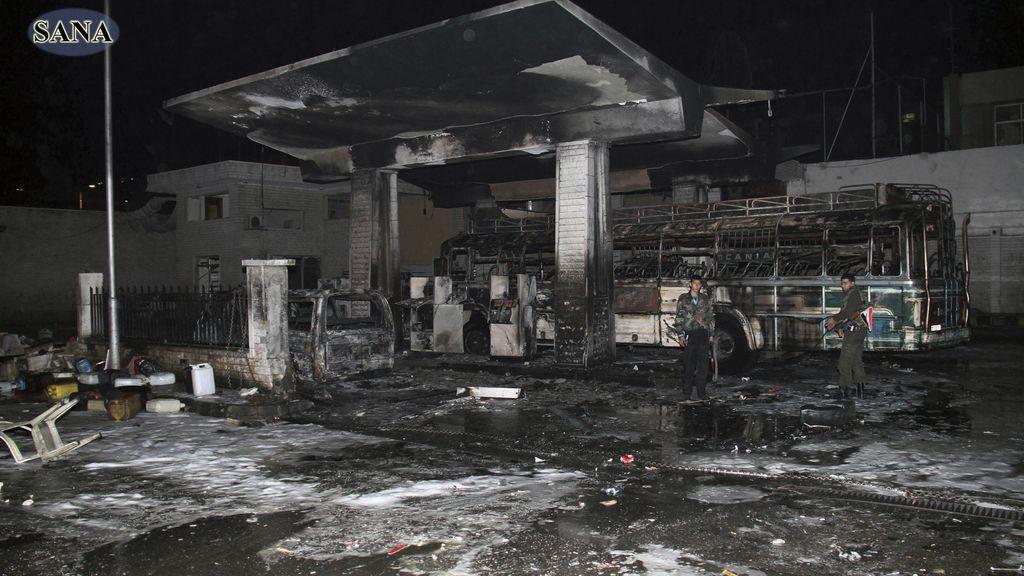 Atentado en una gasolinera en Barzeh al-Balad, Damasco, Siria