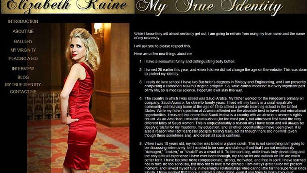 Elizabeth Raine,subasta virginidad