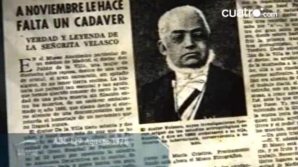 La momia de la hija del doctor Velasco