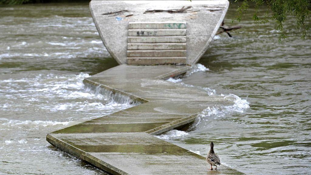 Las lluvias elevan el caudal de los ríos en Navarra