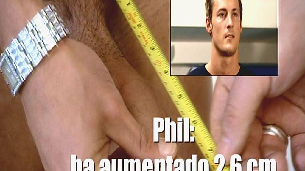 El pene de Phil aumenta en 2,6 centímetros, un 18%, tras utilizar durante 2 meses una bomba de succión. Uno de los experimentos de este episodio.