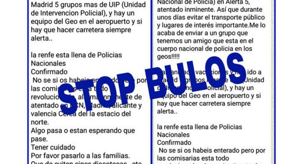 bulos WhatsApp,bulos atentados,Policía Nacional