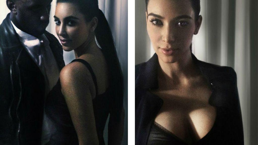 El músico Kanye west con su novia, la modelo, Kim Kardashian.