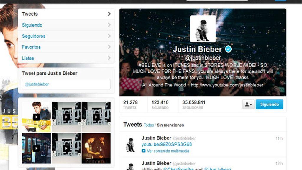 Justin Bieber, en Twitter