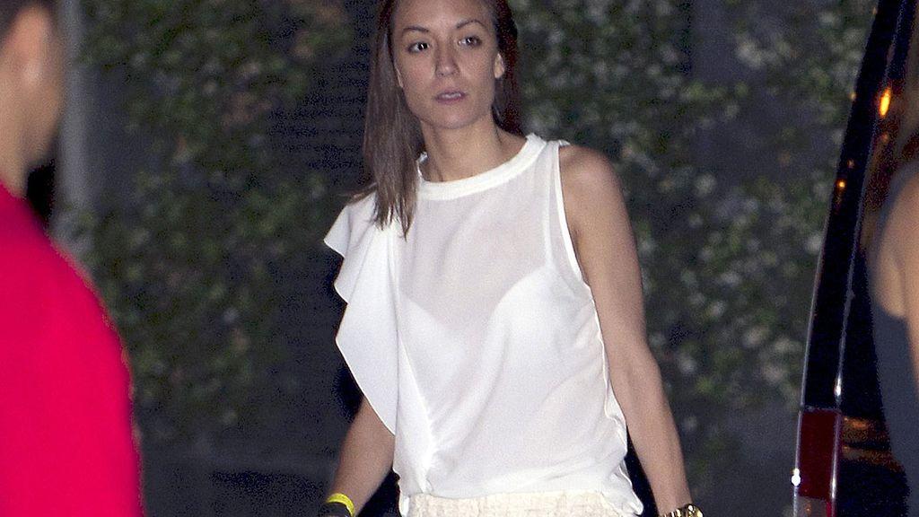 Anna Ortiz, novia de Iniesta, durante la fiesta de la Selección española