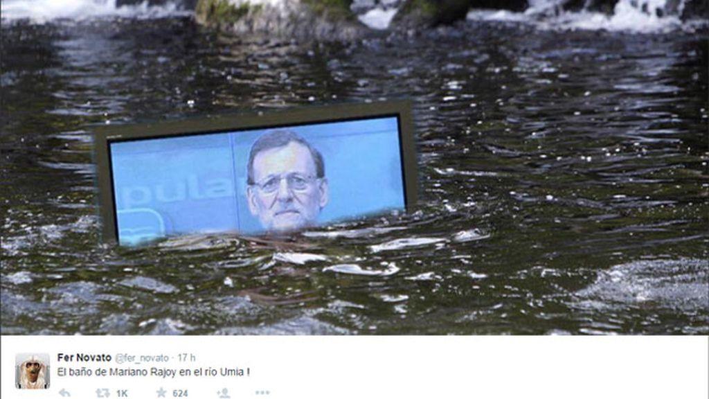 El baño del presidente en el río Umía