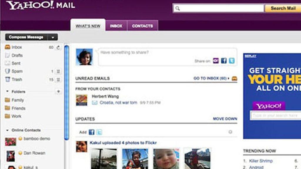 La nueva versión de Yahoo pensado para las redes sociales. El usuario podrá actualizar y responder a sus 'amigos' de Facebook y Twitter sin salir de la plataforma Yahoo!