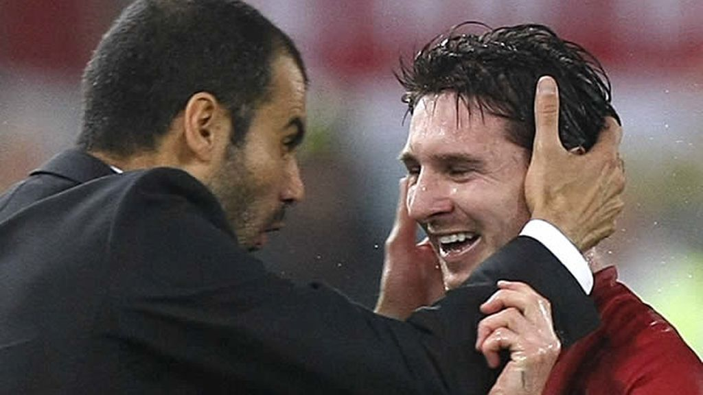 Guardiola felicita a Messi tras su gol