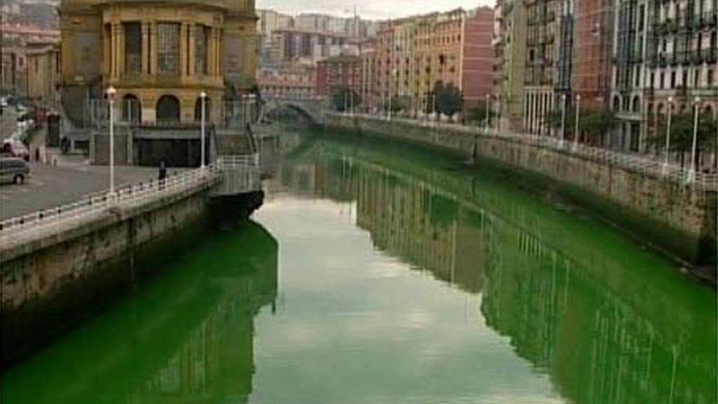 Los ríos se tiñen de verde en el País Vasco