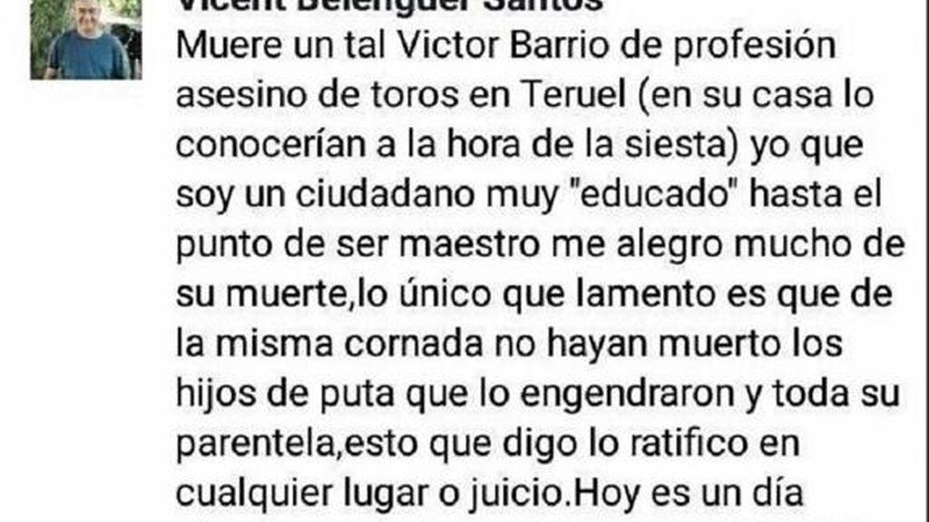 Un profesor se alegra de la muerte del torero Víctor Barrio