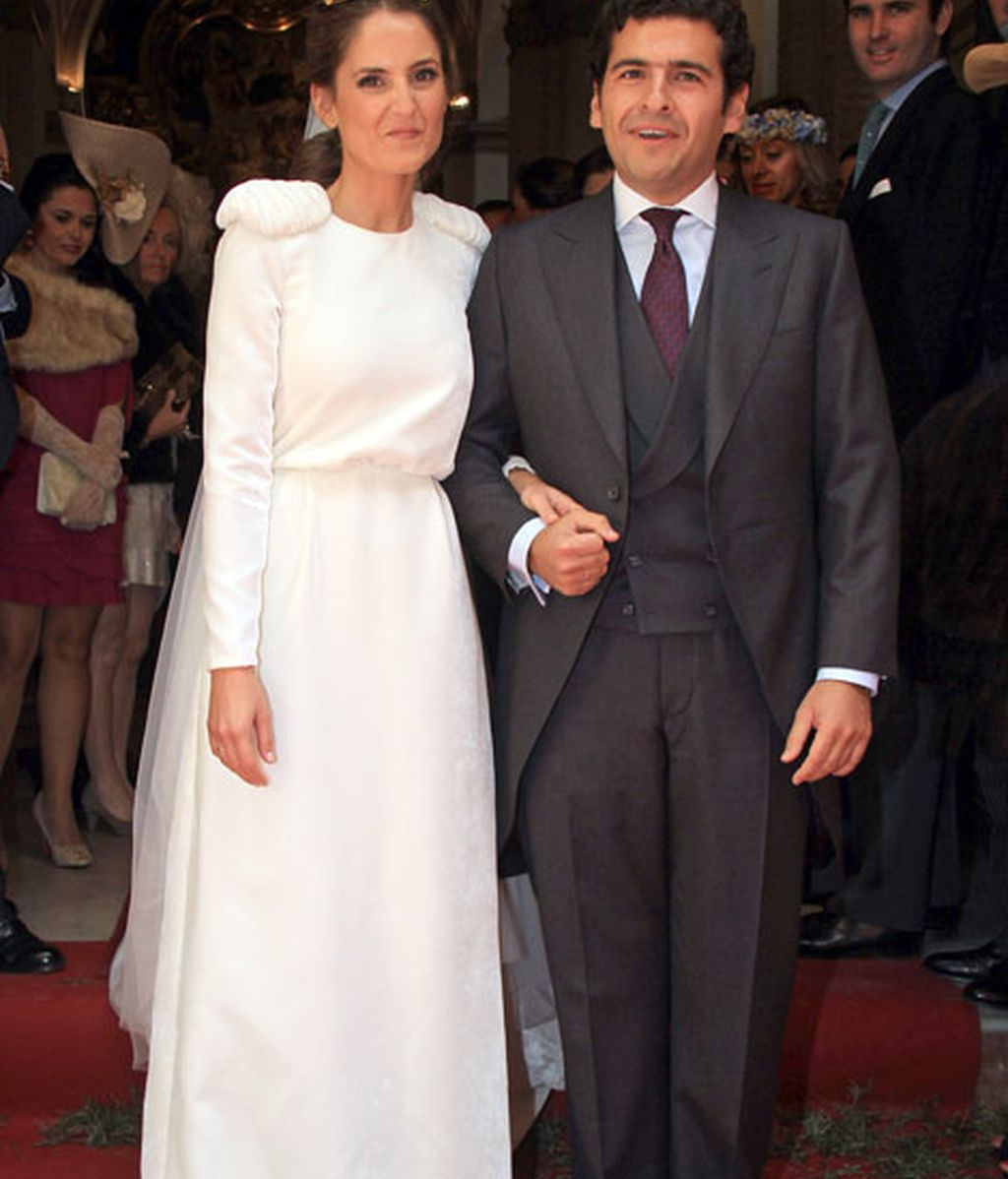 Juan Ignacio Zoido y Arantxa Díaz, a la salida de la iglesia