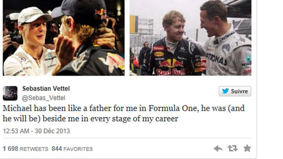 Sebastian Vettel en Twitter manda mensaje a Michael Schumacher